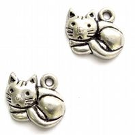 10 Antique Silver Cat Charms 15mm